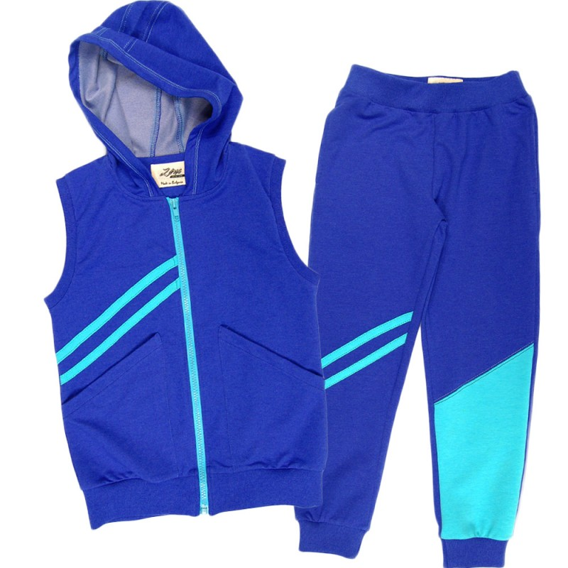 Комплект с елек и долнище м.380 /98-122/ в ярко синьо