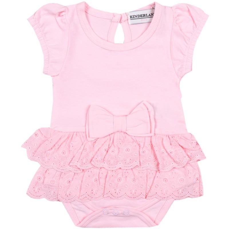 Боди-рокля къс ръкав Дантела /68-92/ в розово