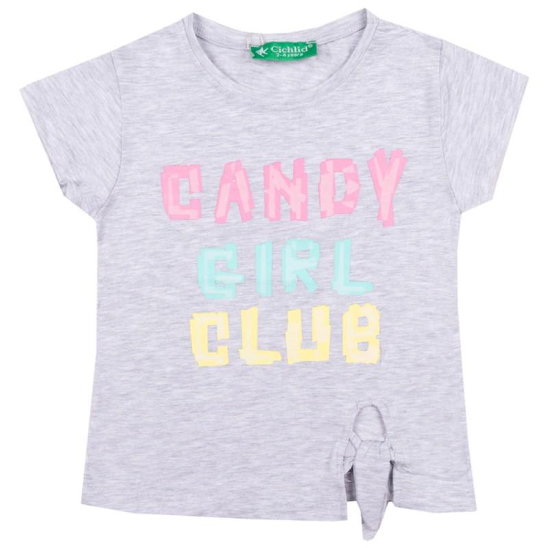 Блуза с къс ръкав Candy /98-128/ в сив меланж