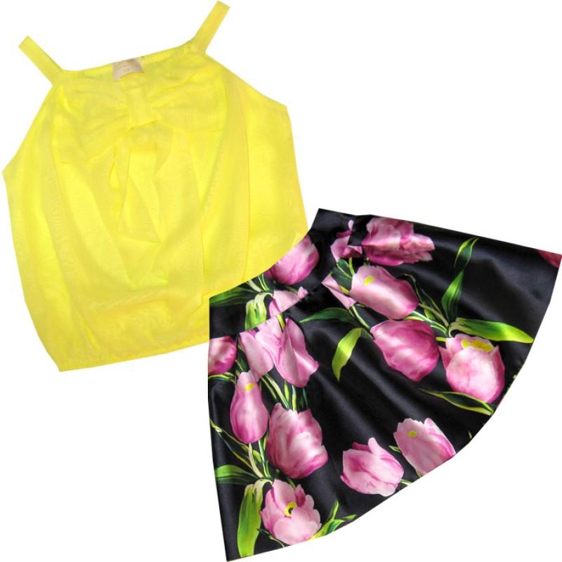 Комплект момиче в жълто Цветя /128-164/ м.800 912-1