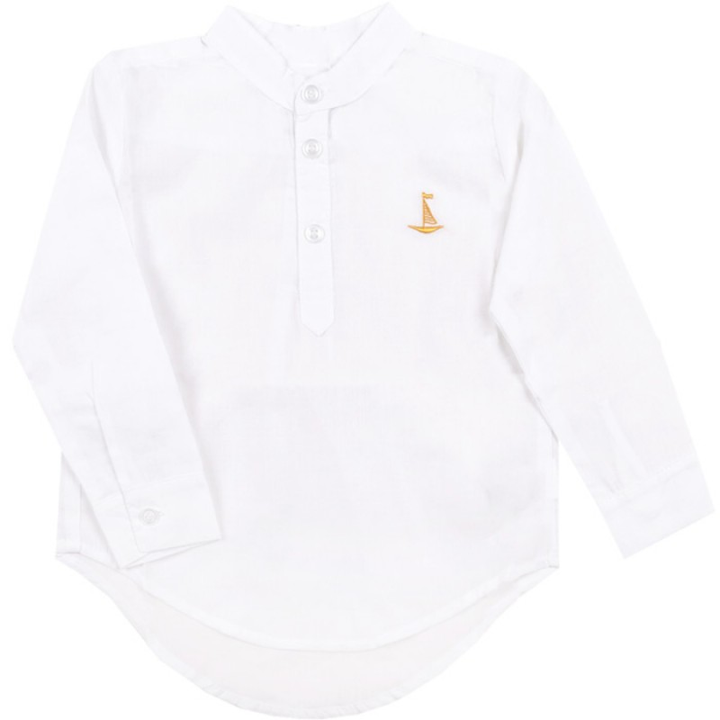 Риза навиващ ръкав Лодка /62-140/ в бяло/жълто