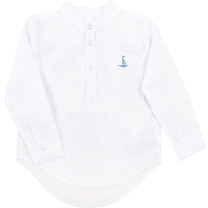 Риза навиващ ръкав Лодка /62-140/ в бяло/синьо