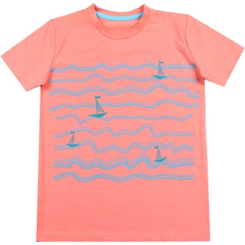 Тениска момче Лодка /92-116/ в корал