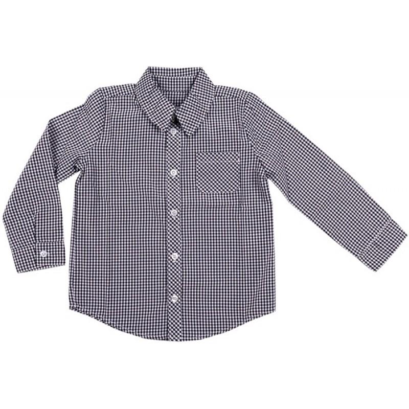Риза дълъг ръкав момче каре /98-158/  в черно
