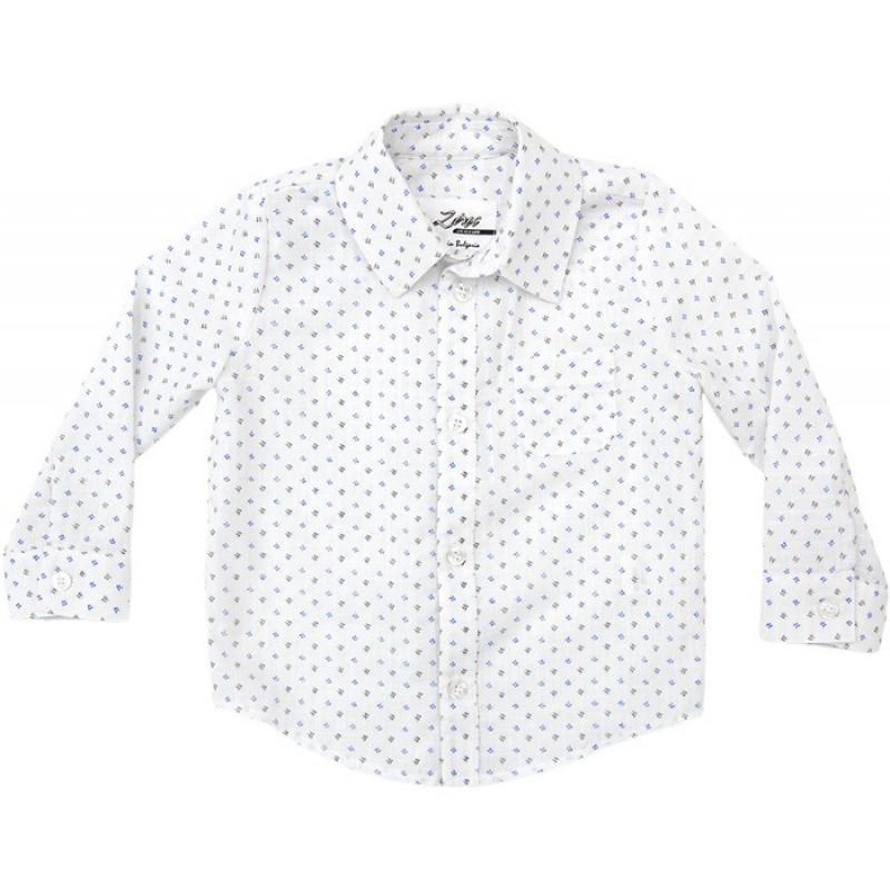 Риза дълъг ръкав момче щампа  в синьо /68-92/