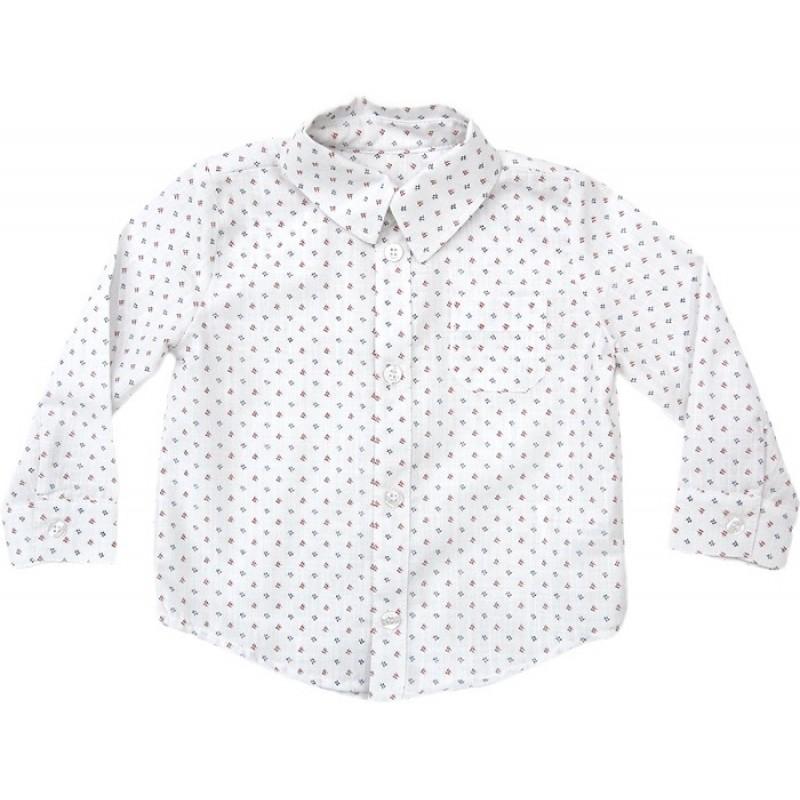 Риза дълъг ръкав момче щампа  в бордо /68-122/