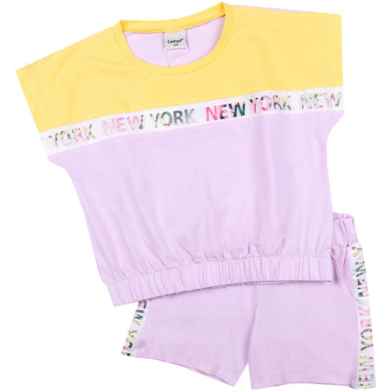 Комплект къс ръкав NewYork м.401 431 /128-170/ в жълто-св.лилаво