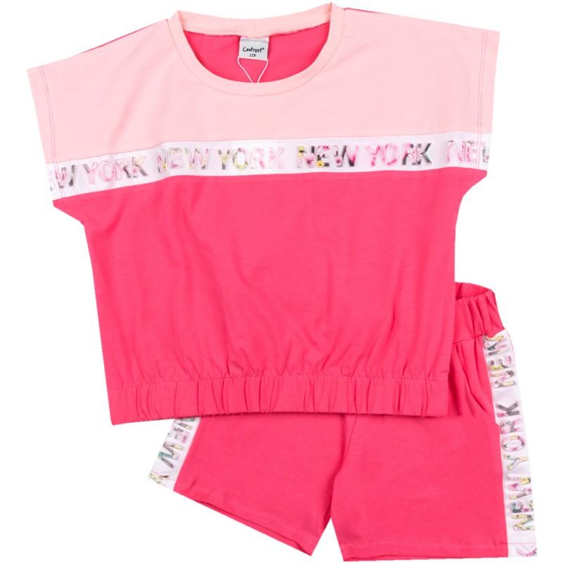 Комплект къс ръкав NewYork м.401 431 /128-170/ в розово-бонб.розово