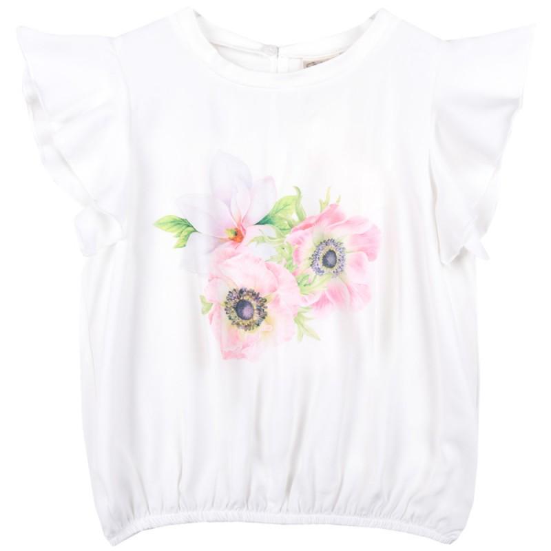 Блуза крилца 3 Цветенца в бяло /122-158/ м.601 338-3