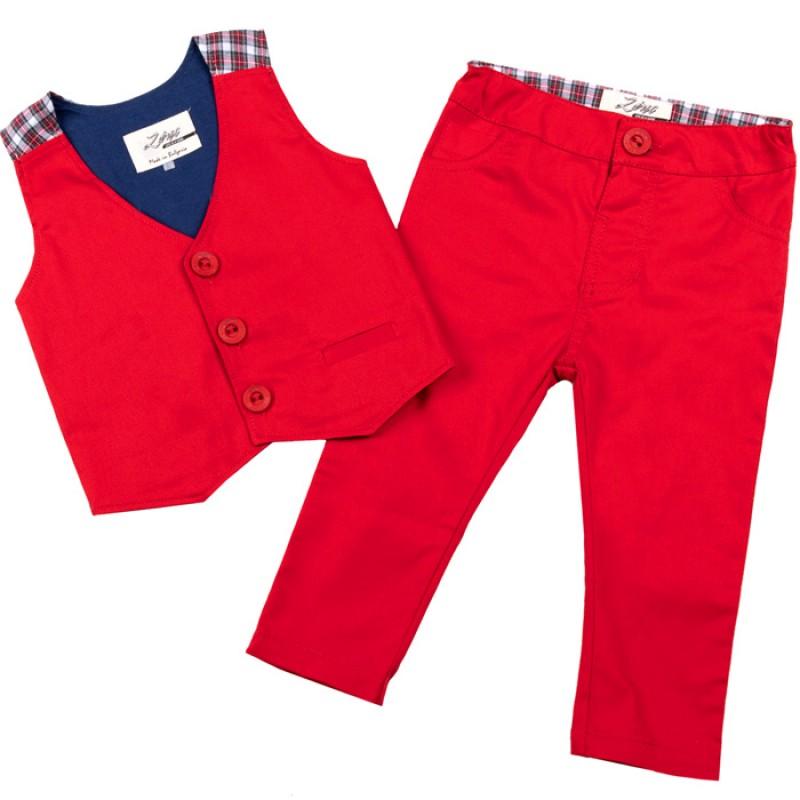 Комплект Момче с елек и панталон м.129/131 /68-92/ в червено