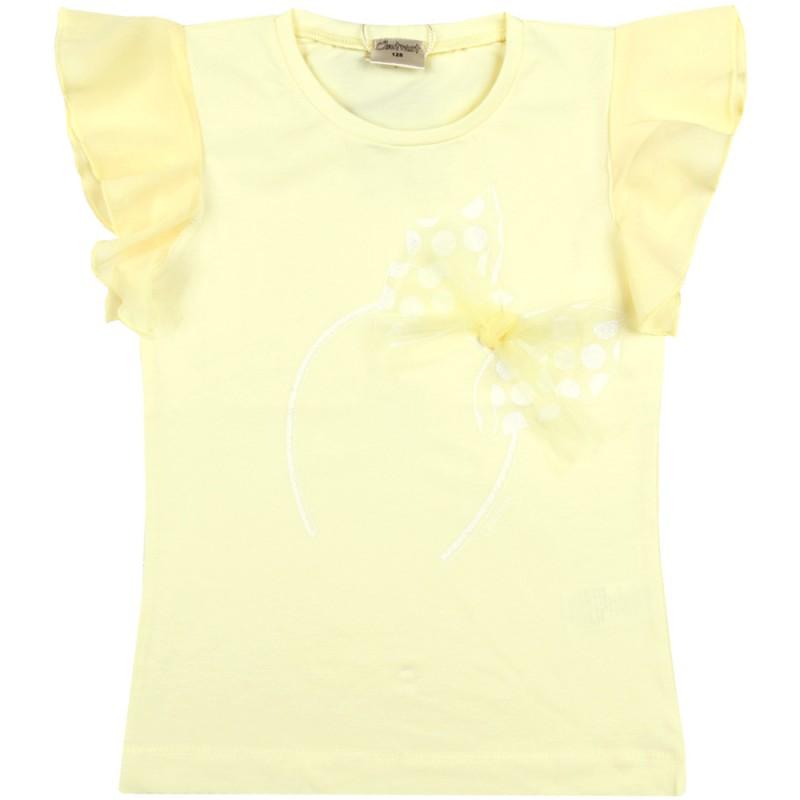 """Блуза крилца """"Панделка"""" м.601 300 /128-146/ в жълто"""