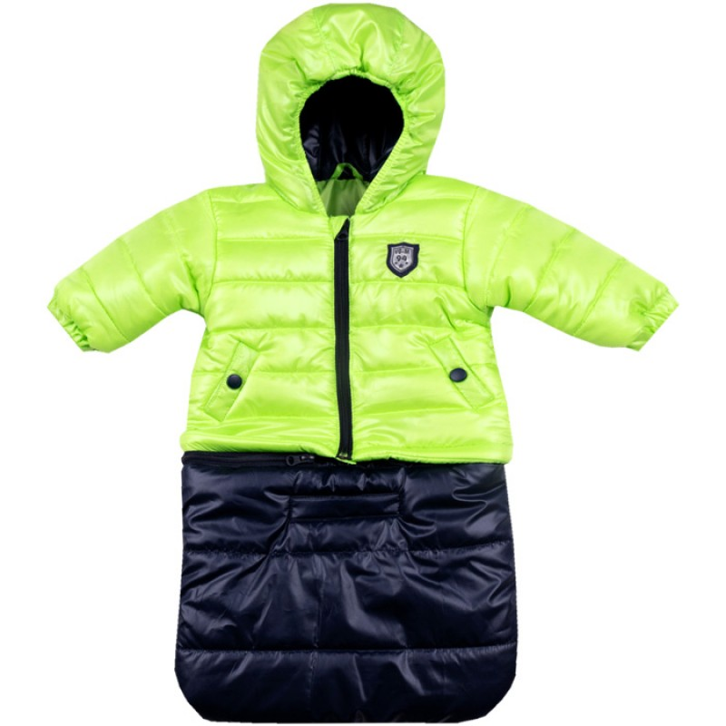 Бебешко яке-чувалче Вега М в неон зелен/тъмно синьо