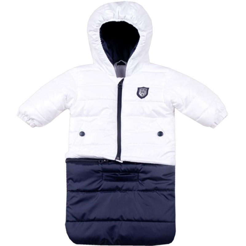 Бебешко яке-чувалче Вега М в бяло/тъмно синьо