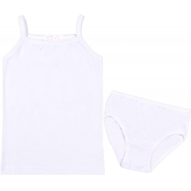Корсаж тънка презрамка с бикина Его в бяло /92-158/ ликра