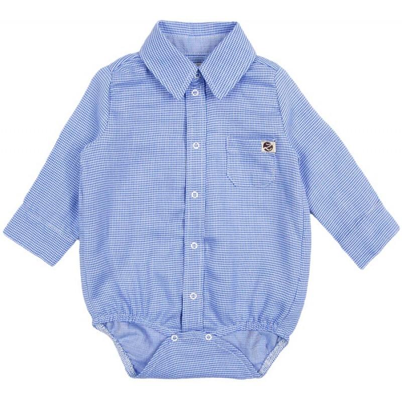 Боди-риза дълъг ръкав Каре м.293 /68-92/ в синьо