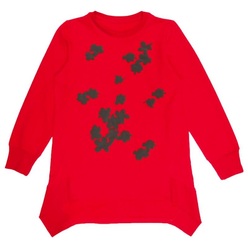 Блуза д.р. Летящи цветя м.308 /98-122/ в червено