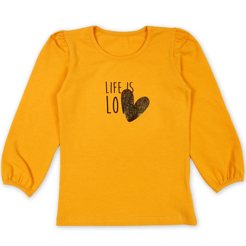Блуза д.р. Животът е любов /98-140/ в горчица