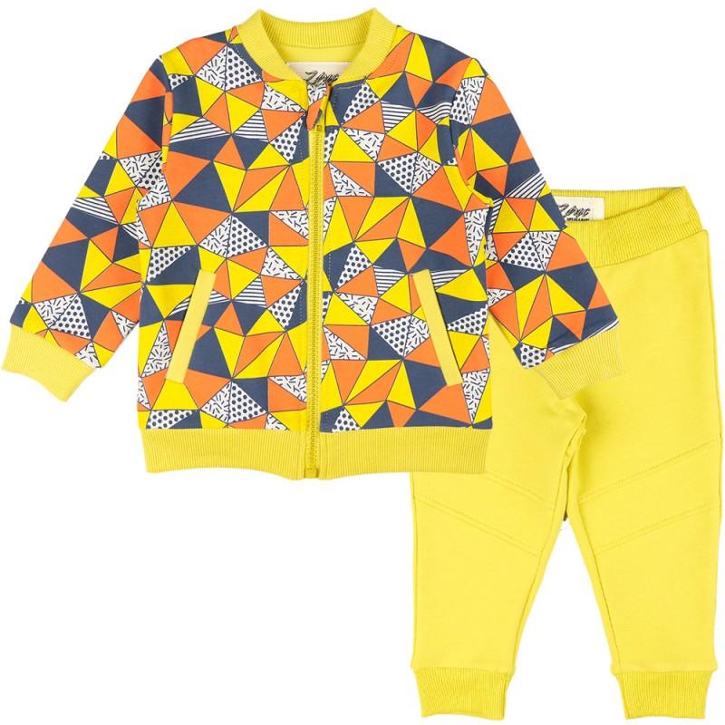 Комплект 2 части Триъгълници /62-80/ в цвят патешко жълто