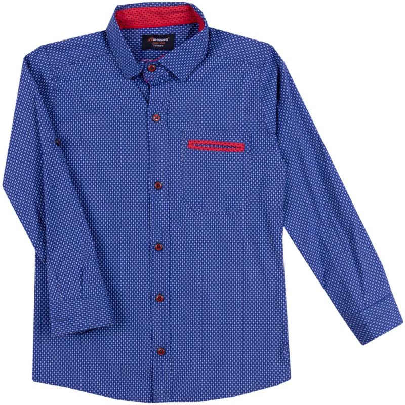 Риза д.р. за Момче щампа ромбчета /122-146/ в тъмно синьо