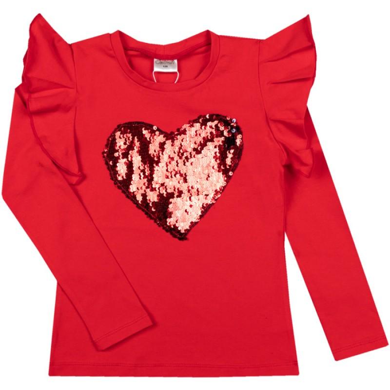 Блуза Сърце с пайети /128-158/ м.601 369