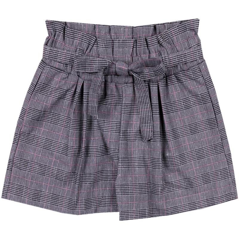 Къси панталонки с коланче Каре в сиво /128-158/ м.201 366-2