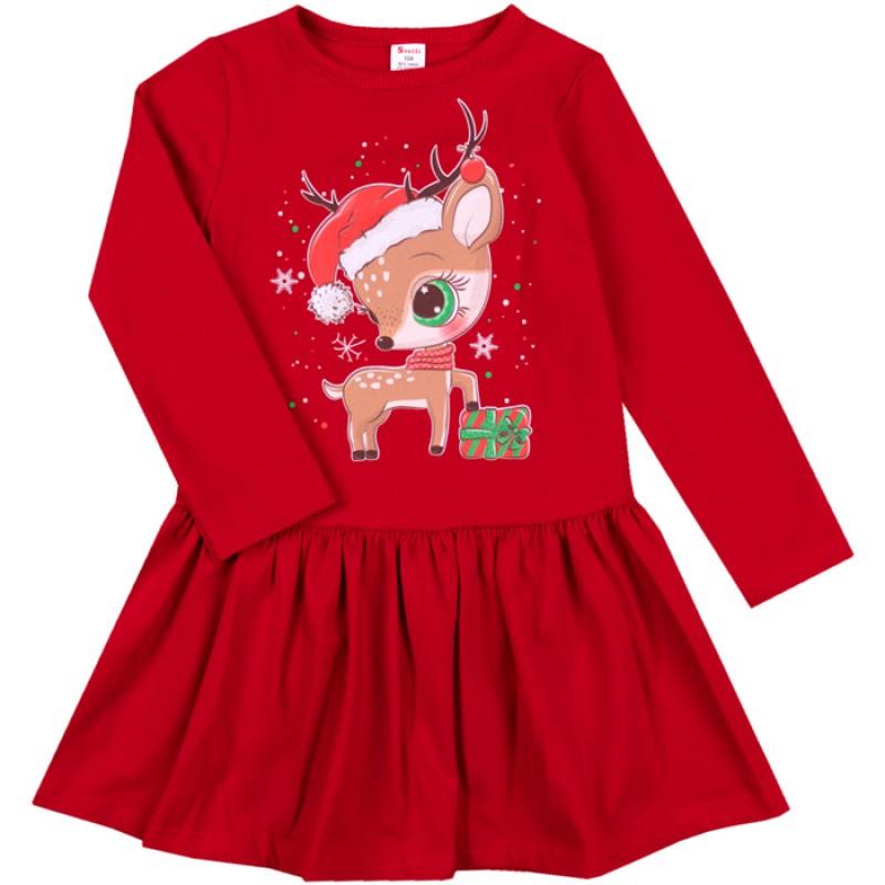 Коледна рокля Еленче и подарък /68-128/ лека вата-ликра