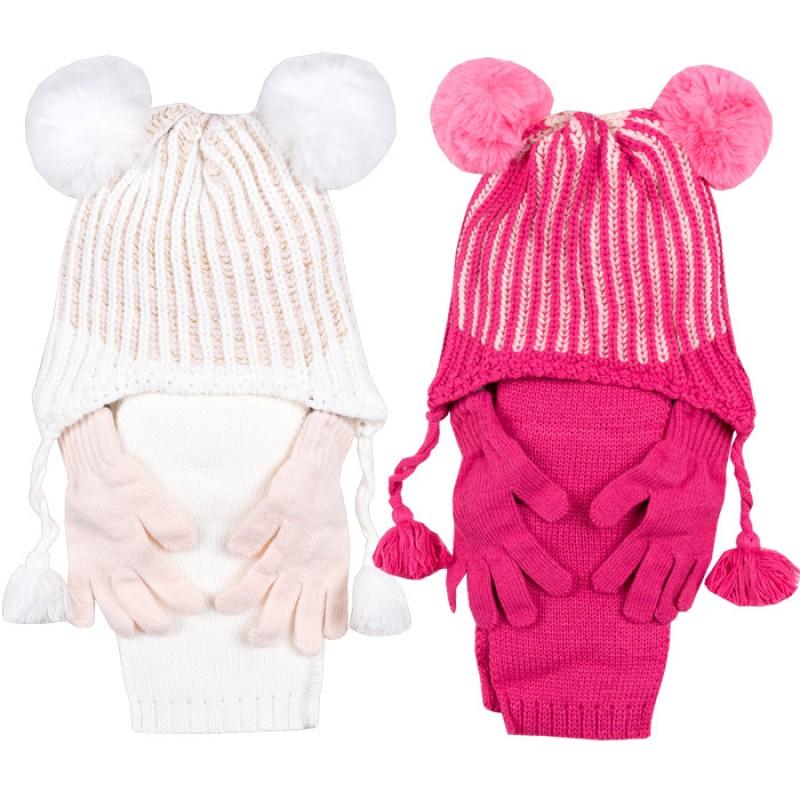 Комплект шапка, шалче и ръкавички за момиче м.2904 /4 - 8 год./