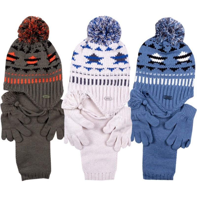 Комплект шапка, шалче и ръкавички за момче м.2920 /1 - 4 год./