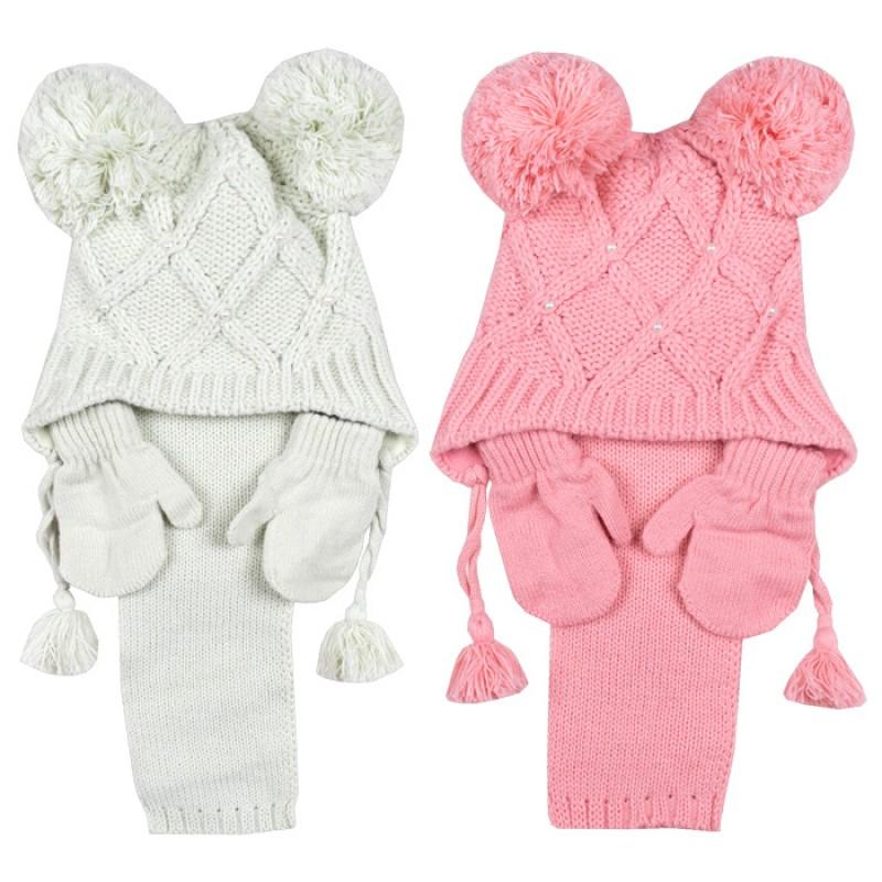 Комплект шапка, шалче и ръкавички за момиче м.2920 /1 - 4 год./
