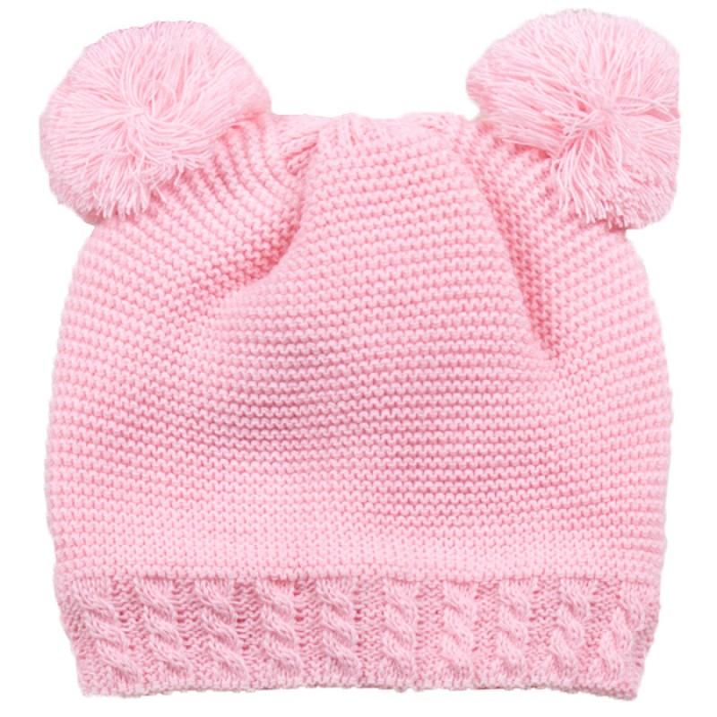 Шапка Мечo в розово /S-M/ м.7012-2 - плетиво с полар